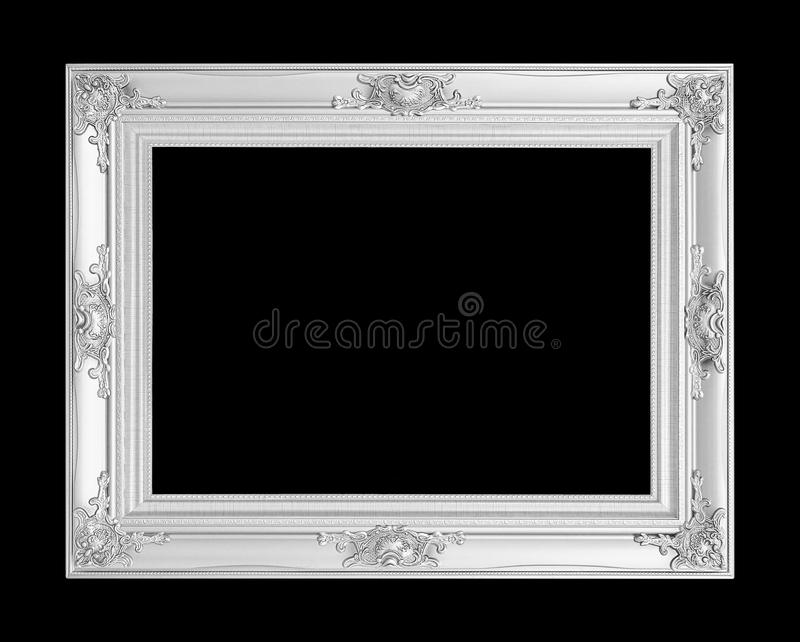 Marco de plata antiguo aislado en fondo negro imagen de archivo libre de regalías