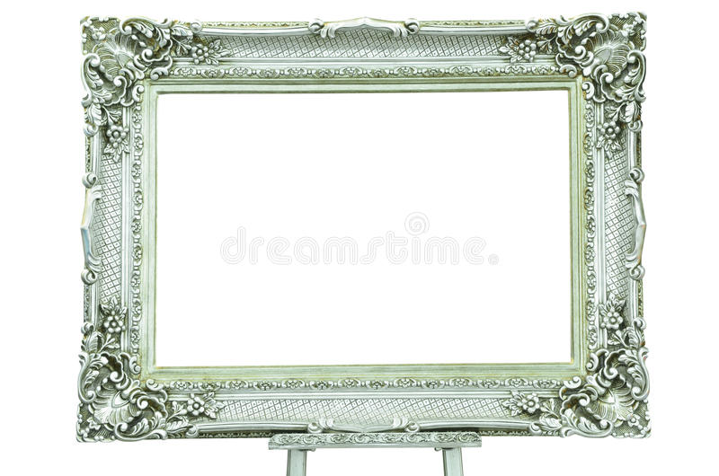 Marco de plata de la vendimia con la base del metal imagen de archivo libre de regalías