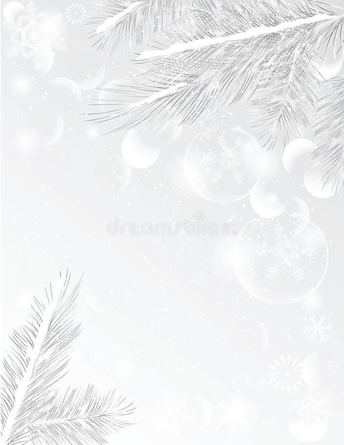 Marco de plata del árbol de navidad ilustración del vector