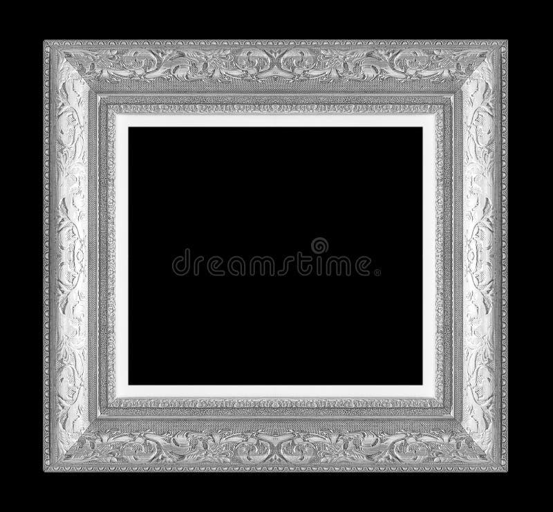 Marco de plata en negro fotografía de archivo