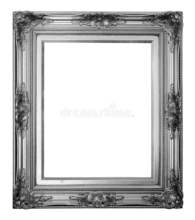 Marco de plata trayectoria y sobre el fondo blanco fotos de archivo libres de regalías