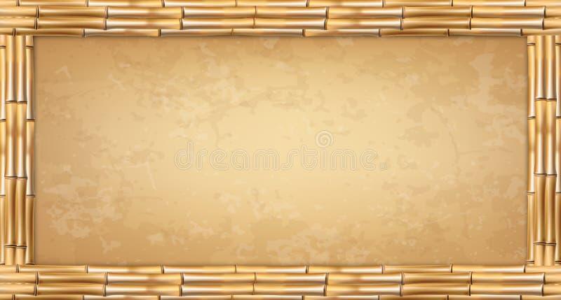 Marco de polos de bambú del marrón del rectángulo del vector con el papiro o la lona del vintage ilustración del vector