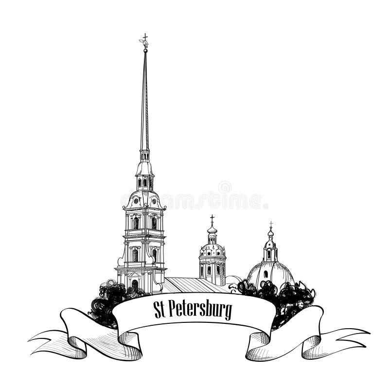 Marco de St Petersburg, Rússia. Etiqueta do marco do curso ilustração stock
