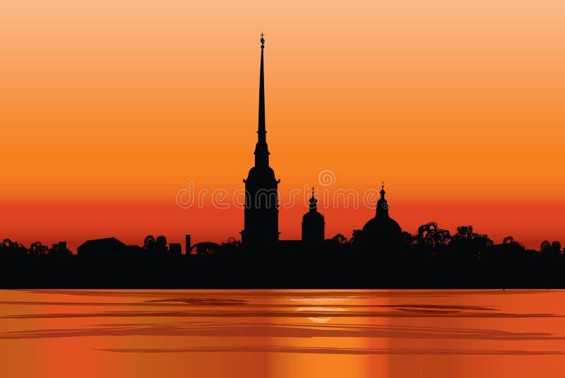 Marco de St Petersburg, Rússia. Opinião do por do sol ilustração royalty free