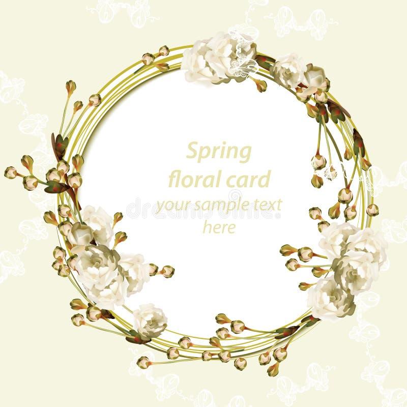 Marco de tarjeta redondo de la flor de cerezo del vintage Flores delicadas de la primavera que se casan la invitación Lugar para  libre illustration