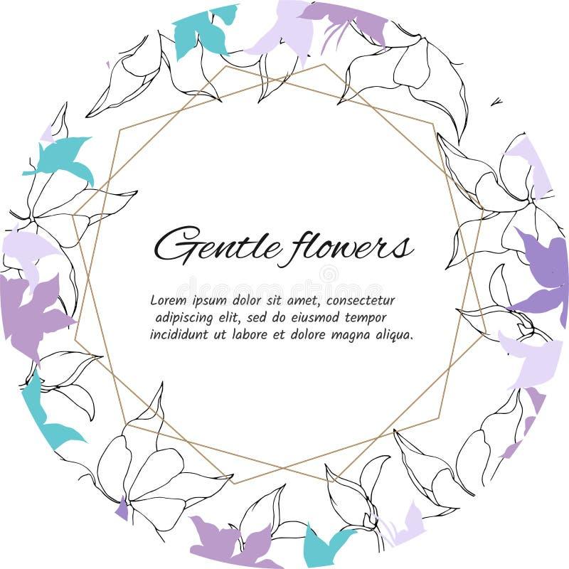 Marco de texto de flores p?rpuras y blancas apacibles Sistema de la primavera de estampados de flores, para adornar tarjetas stock de ilustración