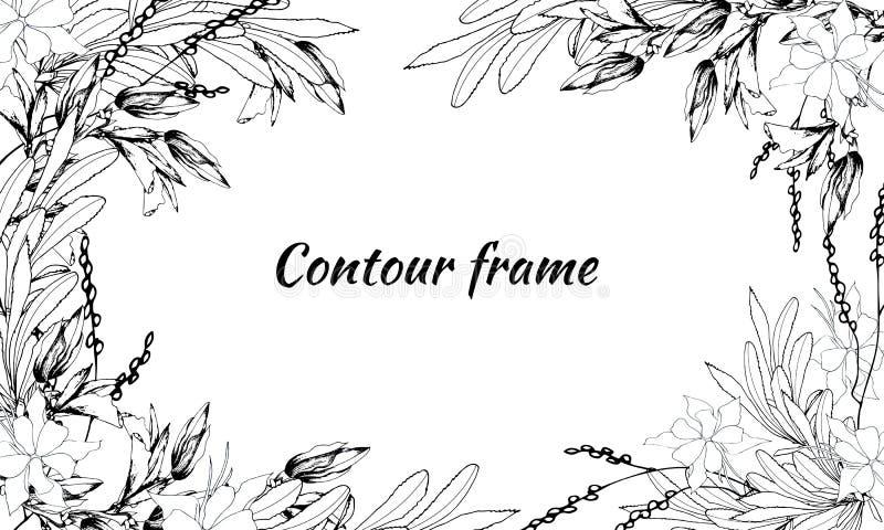 Marco de texto de las flores y de las hojas del contorno Ejemplo blanco negro del vector Tarjeta del vintage para la enhorabuena  stock de ilustración