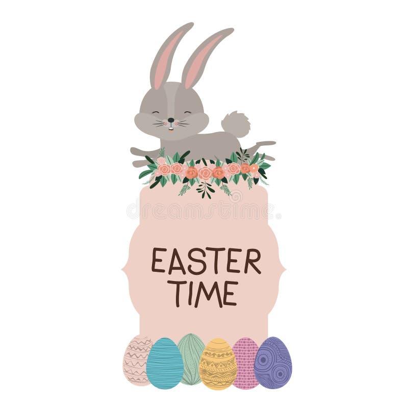 Marco de tiempo de Pascua con el conejito en el top y huevos y ornamento de Pascua florales en silueta colorida ilustración del vector
