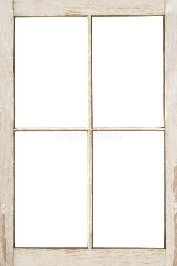 Marco de ventana de cuatro cristales aislado en blanco foto de archivo