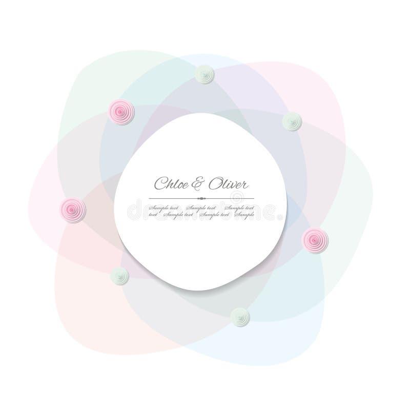 Marco decorativo abstracto con los pétalos transparentes Para casarse, cumpleaños, diseño de la fiesta de bienvenida al bebé stock de ilustración