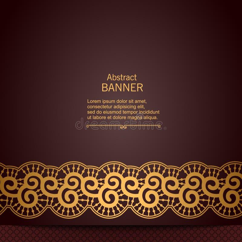 Marco decorativo abstracto de lujo con la cinta del cordón stock de ilustración