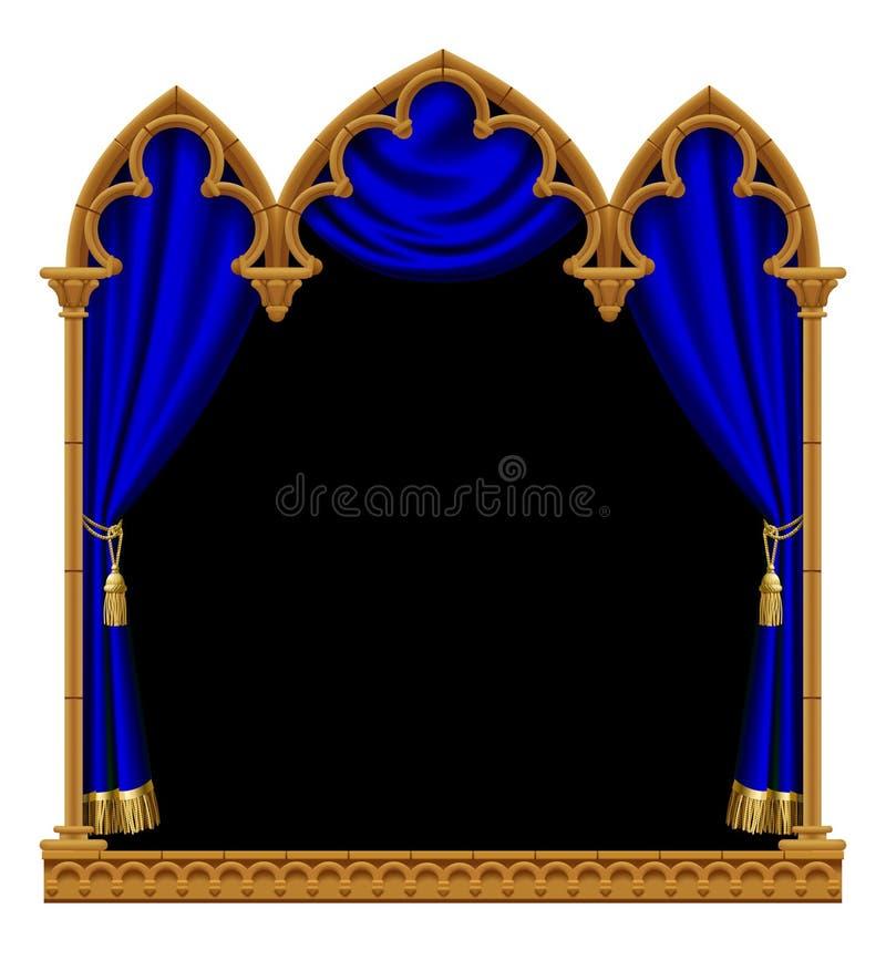 Marco decorativo arquitectónico gótico clásico con un curtai azul ilustración del vector