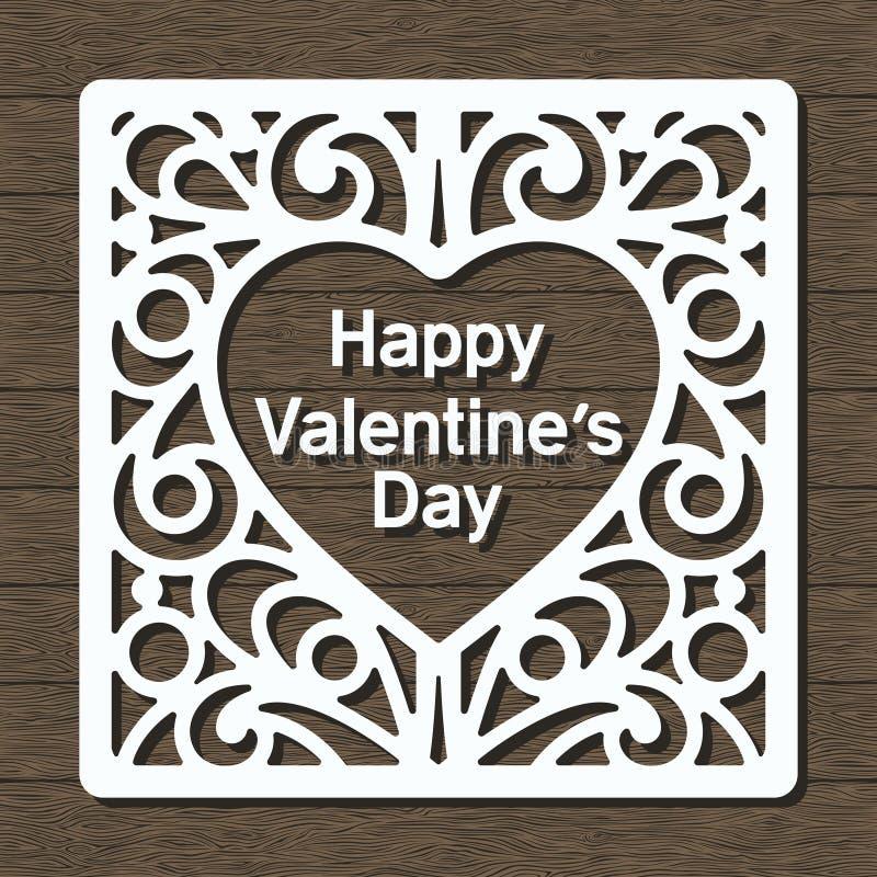 Marco decorativo blanco día de San Valentín feliz en fondo de madera marrón oscuro libre illustration