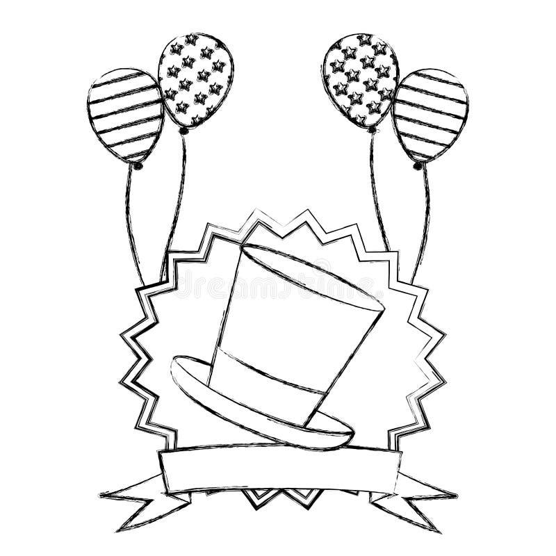 marco decorativo borroso de la silueta con la bandera de los E.E.U.U. del sombrero y de los globos stock de ilustración