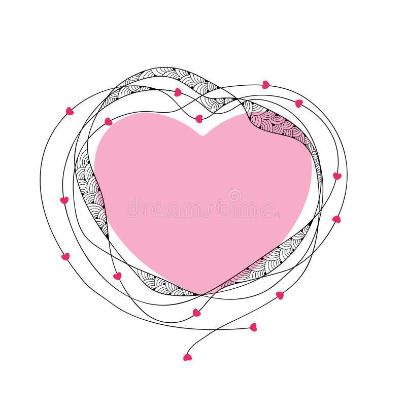 Marco decorativo con el corazón rosado y líneas aisladas en el fondo blanco Tarjeta de felicitación para el día de San Valentín libre illustration