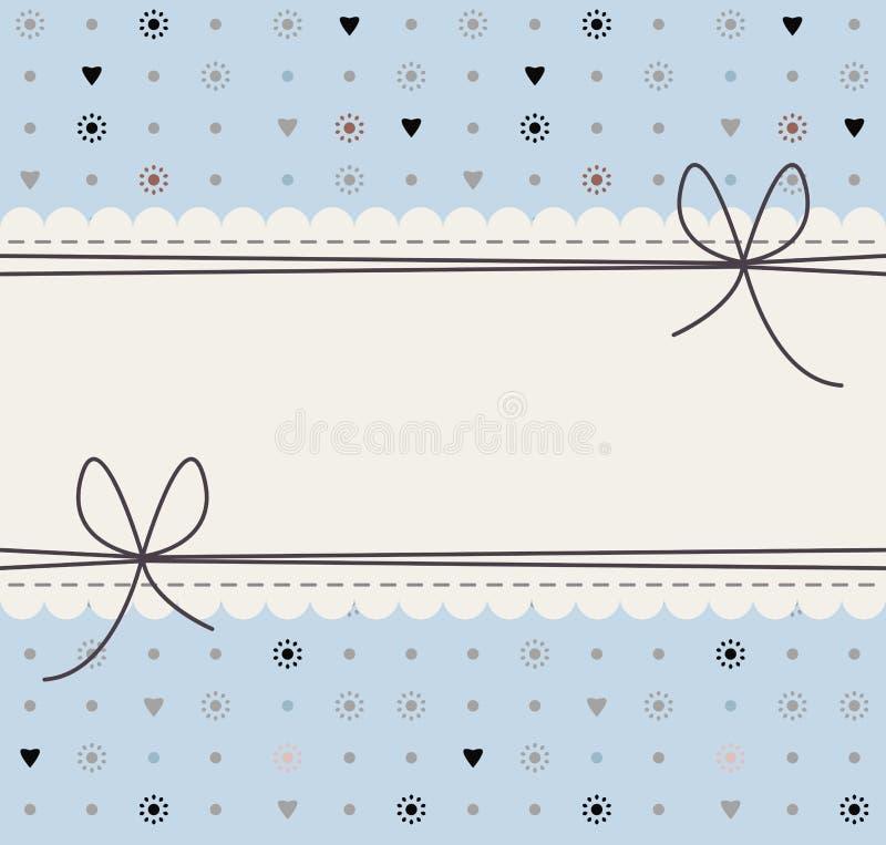 Marco decorativo con las flores, los lunares, los corazones y los arcos lindos stock de ilustración