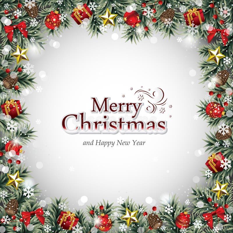 Marco decorativo con los ornamentos de la Navidad stock de ilustración