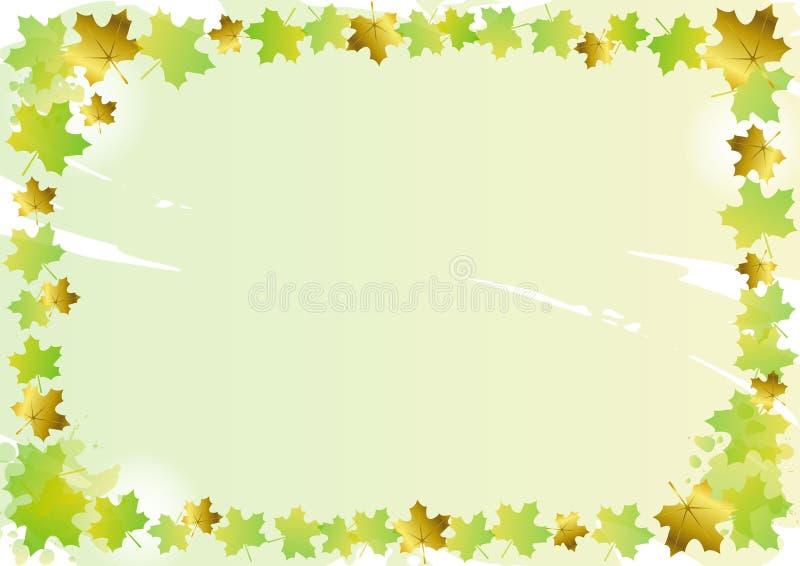 Marco decorativo de hojas de arce verdes y de oro en fondo verde libre illustration