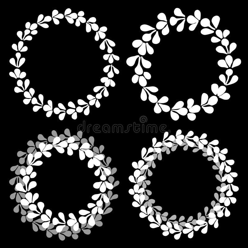 Marco decorativo de la guirnalda blanca y gris del vector stock de ilustración