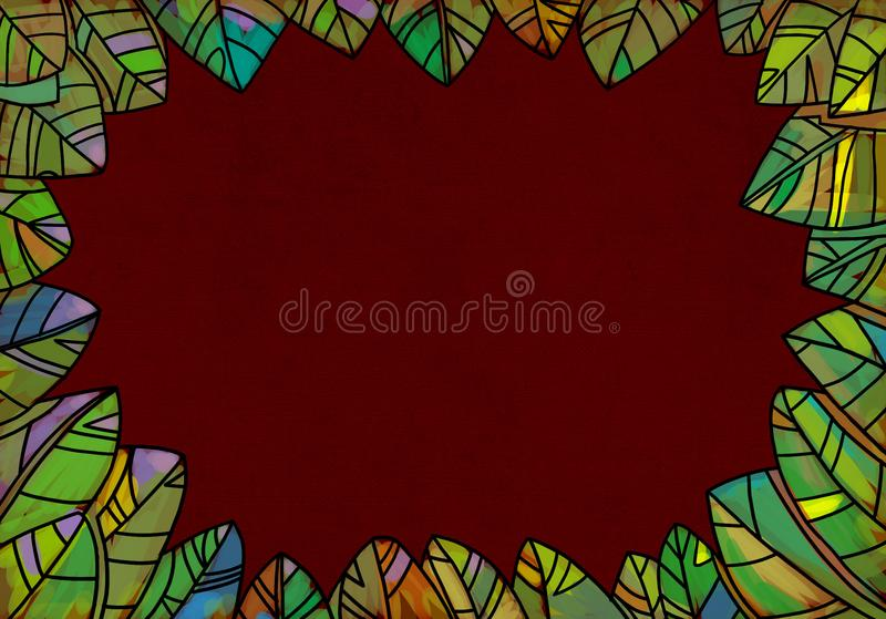 Marco decorativo de las hojas para los diseños de la primavera y del otoño ilustración del vector