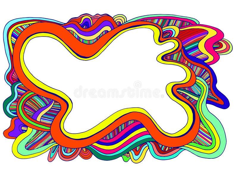Marco decorativo de las ondas de los garabatos del extracto de los colores del arco iris ilustración del vector