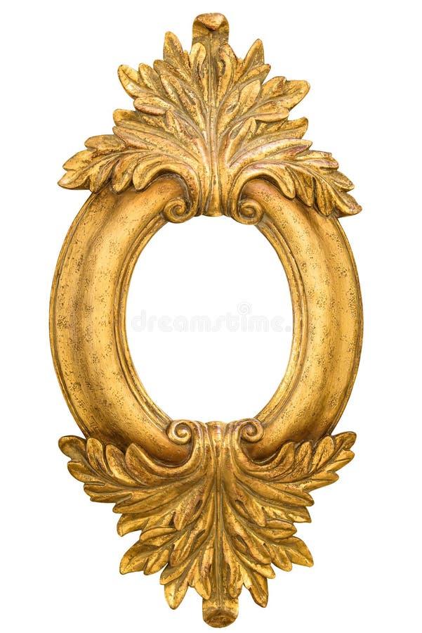 Marco decorativo de oro oval aislado en blanco fotos de archivo