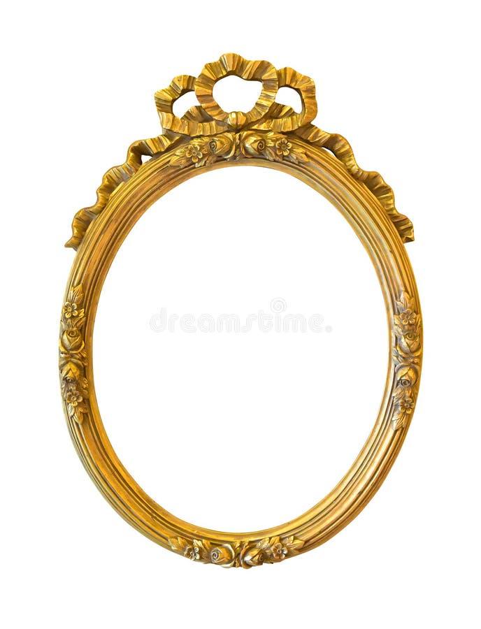 Marco decorativo de oro oval aislado en blanco fotos de archivo libres de regalías