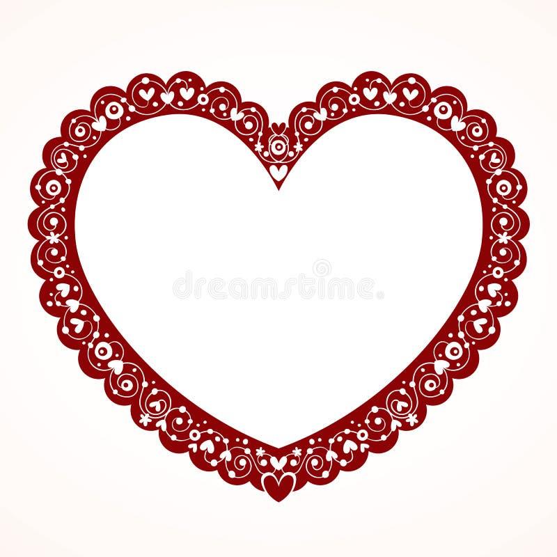 Marco decorativo del corazón de la tarjeta del día de San Valentín ilustración del vector