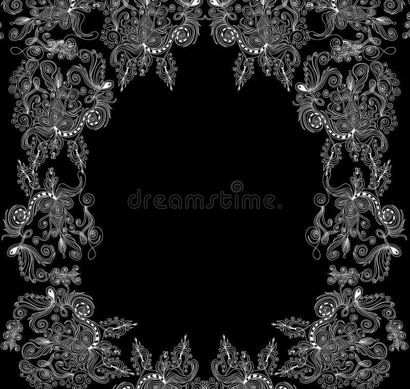 Marco decorativo del vector abstracto hermoso con los ornamentos florales ilustración del vector