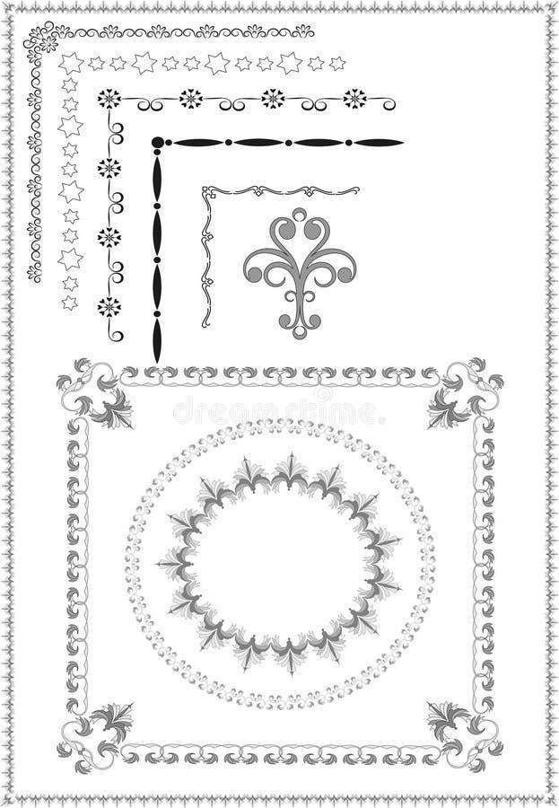 Marco decorativo, frontera del ornamento. Artes gráficos. imagen de archivo