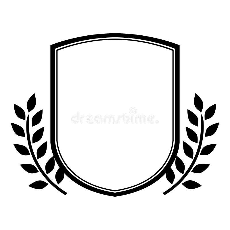 Marco decorativo heráldico de la silueta negra del emblema con las hojas ilustración del vector