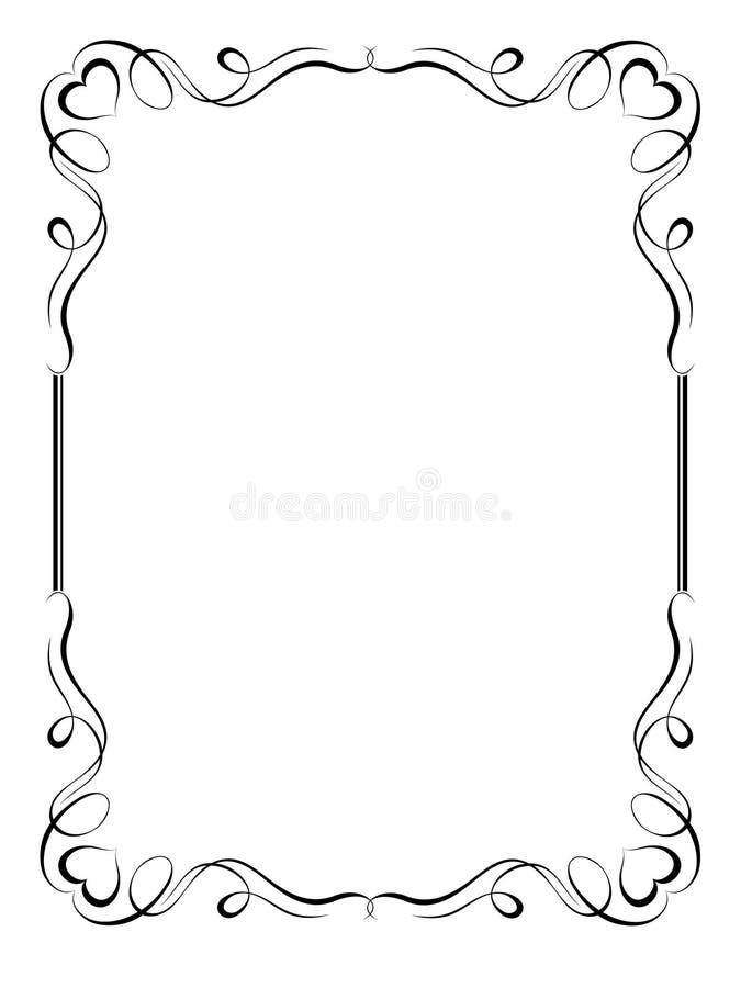 Marco decorativo ornamental de la caligrafía con el corazón ilustración del vector