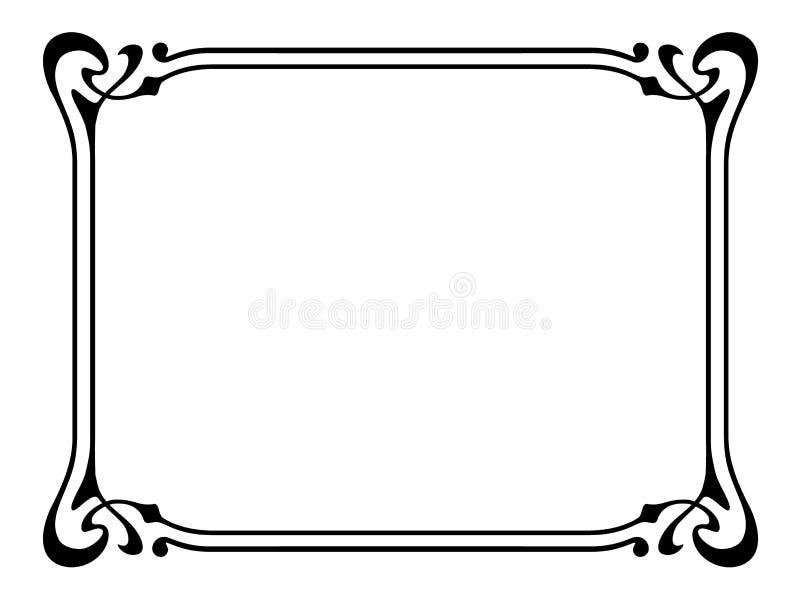 Marco decorativo ornamental del nouveau del arte stock de ilustración
