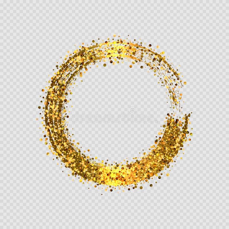 Marco decorativo redondo del brillo de oro del vector ilustración del vector