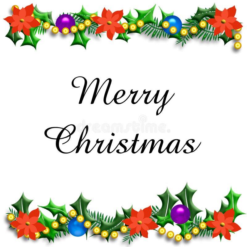 Marco del acebo de la Navidad stock de ilustración