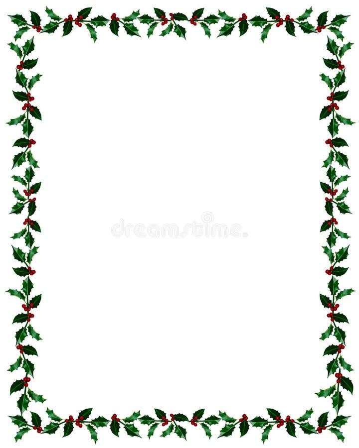 Marco del acebo de la Navidad con el camino del clip stock de ilustración