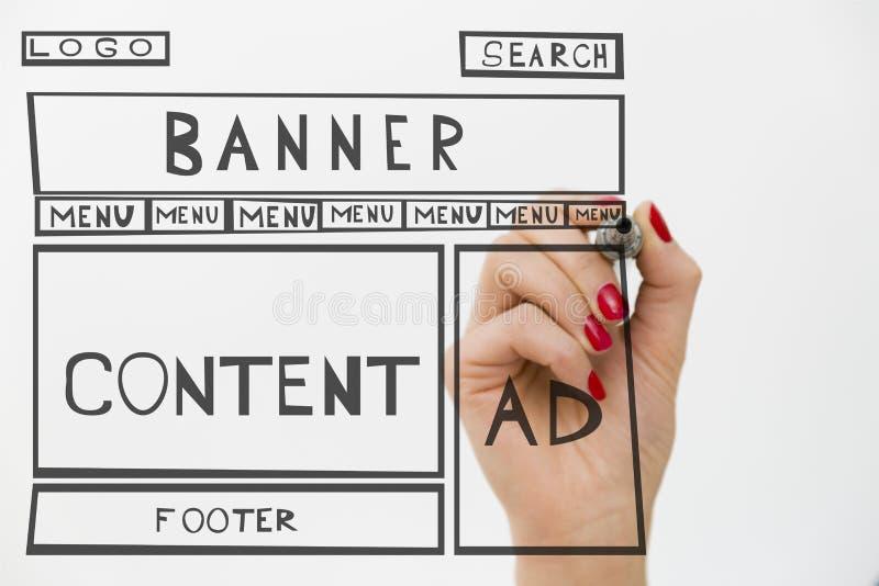 Marco del alambre del desarrollo del sitio web del dibujo del diseñador Estructura de nosotros fotografía de archivo