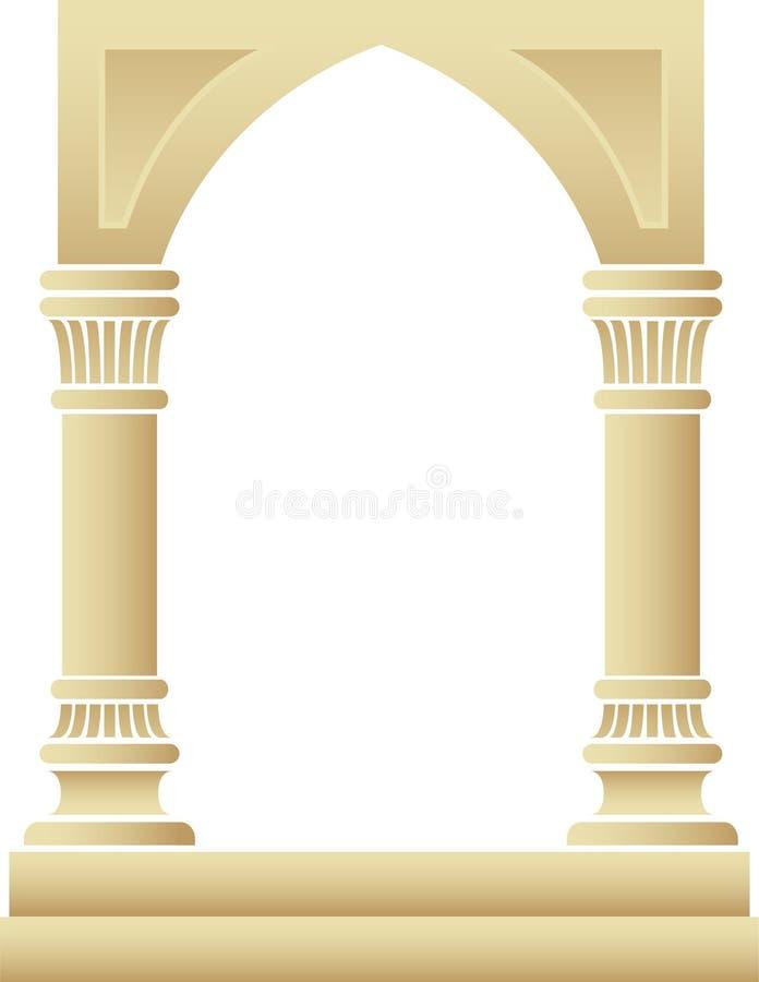 Marco del arco gótico y de las columnas stock de ilustración