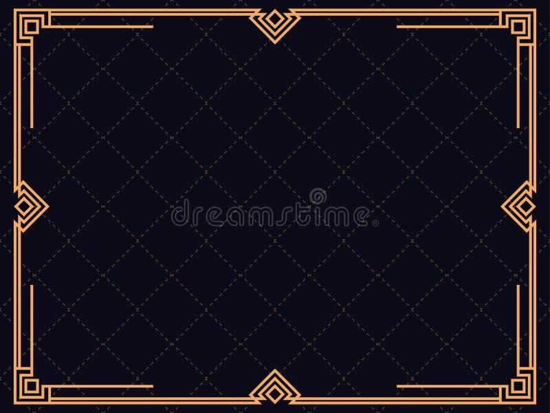 Marco del art déco Frontera linear del vintage Diseñe una plantilla para las invitaciones, los prospectos y la tarjeta de felicit ilustración del vector