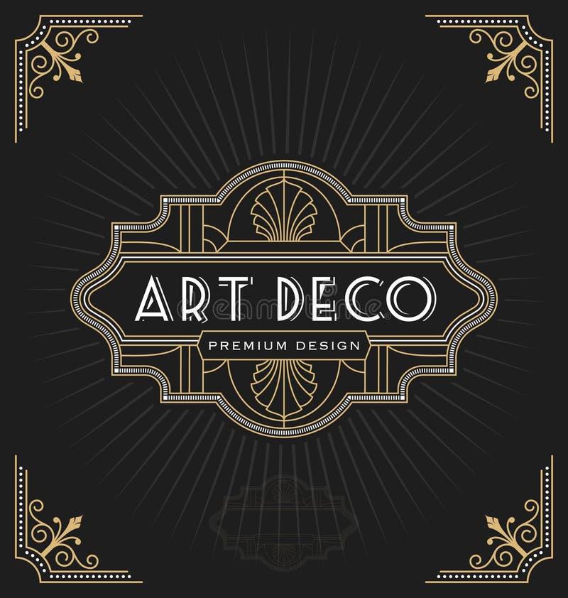 Marco del art déco y diseño de la etiqueta libre illustration