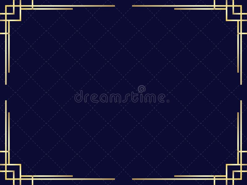 Marco del art d?co con pendiente de oro Frontera linear del vintage Dise?e una plantilla para las invitaciones, los prospectos y  libre illustration