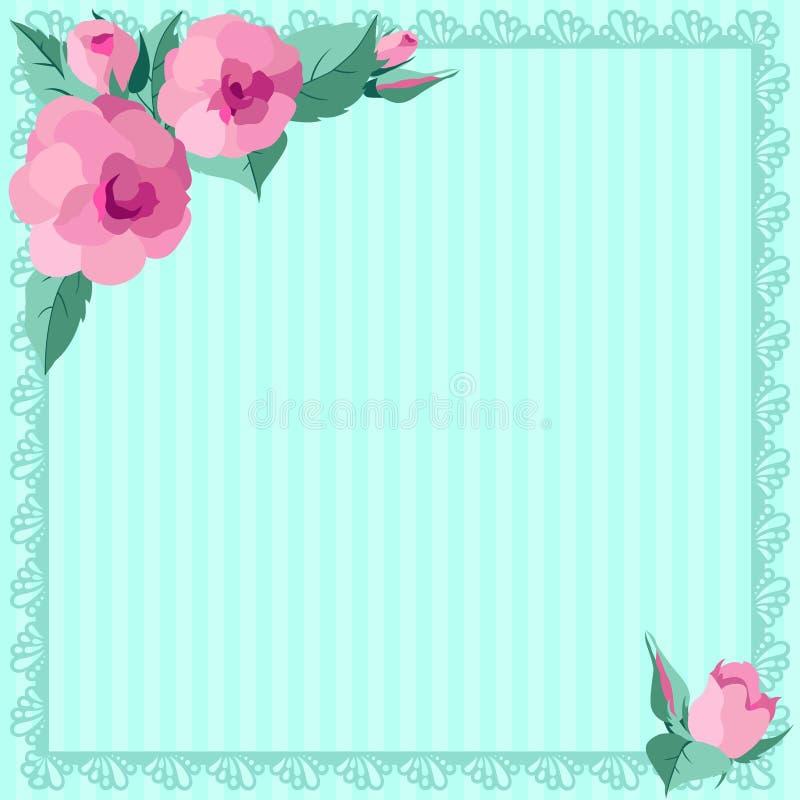 Marco del azul de las rosas de los vintages stock de ilustración