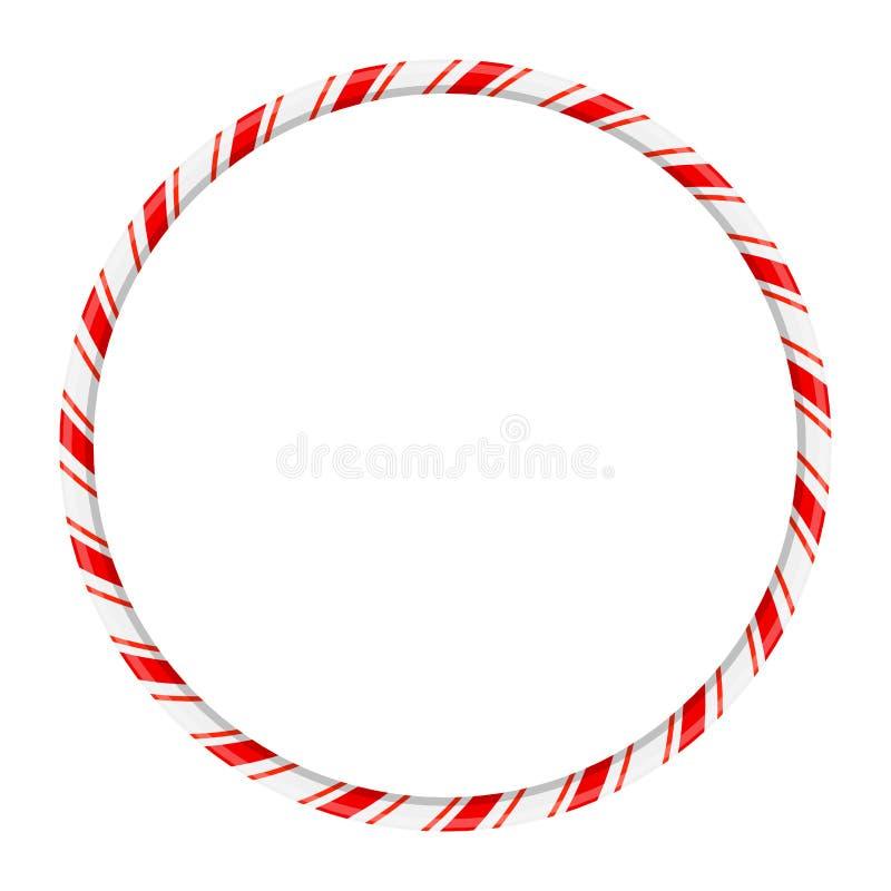 Marco del círculo del bastón de caramelo para el diseño de la Navidad aislado en b blanco libre illustration