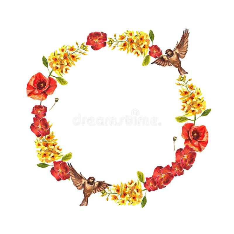 Marco del círculo de la acuarela de violetas rojas, de perritos, del eremurus amarillo y de gorriones ilustración del vector