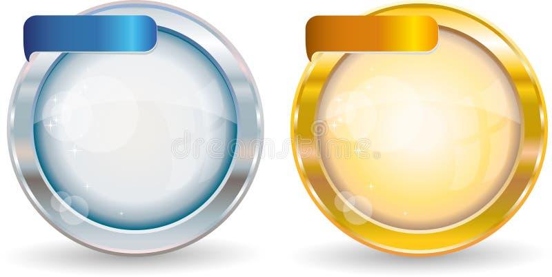 Marco del círculo de la plata y del oro stock de ilustración