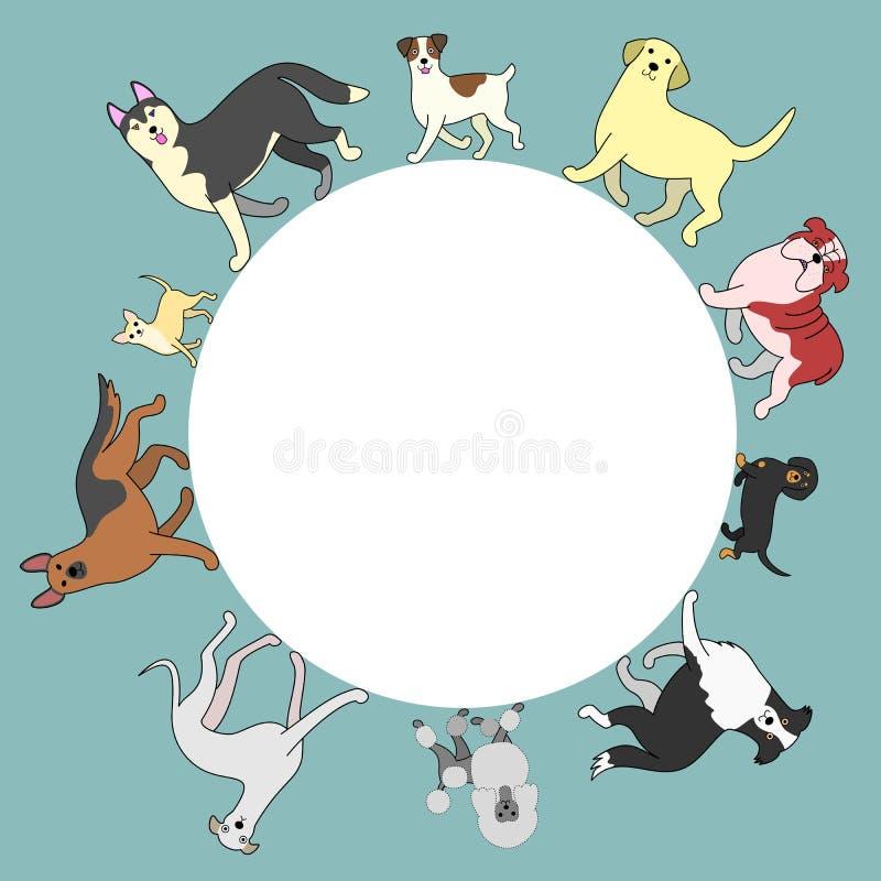 Marco del círculo de los perros con el espacio de la copia ilustración del vector
