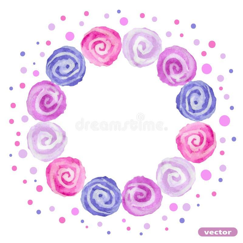 Marco del círculo de puntos espirales coloridos watercolor stock de ilustración