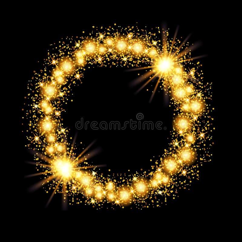 Marco del círculo del brillo del resplandor del oro con las estrellas en fondo negro ilustración del vector