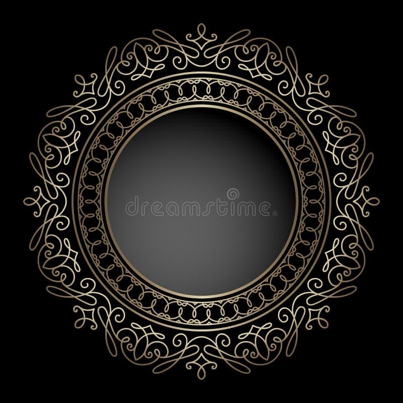 Marco del círculo del oro en negro libre illustration