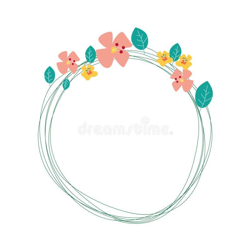 Marco del círculo del vintage con la flor linda en fondo del color en colores pastel stock de ilustración